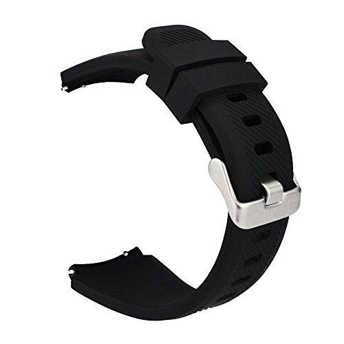 MroTech 22mm Correa Gear S3 Silicona Pulsera de Repuesto para Samsung Galaxy Watch 46mm/S3 Frontier/Classic/Huawei Watch GT 2 /GT Sport/Active/Elegant Bandas de Reloj de Reemplazo -Negro