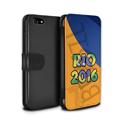 Stuff4 Coque/Etui/Housse Cuir PU Case/Cover pour Apple iPhone 7 / Bleu Design / Brésil Amour Rio 2016 Collection Orange