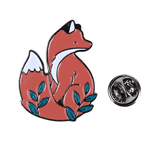 Kissherely 1 Stück Nette Fox Emaille Pin Schöne Cartoon Tiere Brosche Schmuck Geschenk Mantel Taschen Zubehör (Silber) (Broschen Pins Und Tier)