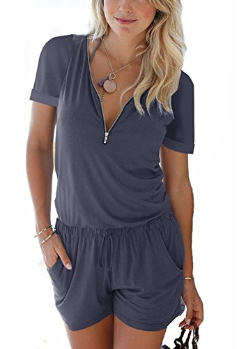 Cassiecy Jumpsuits Damen Kurz Sommer V-Ausschnitt Playsuit mit Reißverschluss Overalls Hose Elegant Strandkleidung(z_Dunkelblau,M)