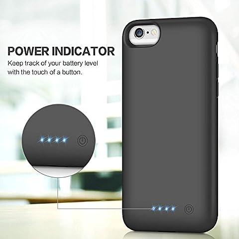 HETP Cover Batteria iPhone 6/6s/7/8, 6000 mAh Ricaricabile Custodia Batteria Portatile Backup Caricabatterie Ultra Sottile Power Case per iPhone 6 ...
