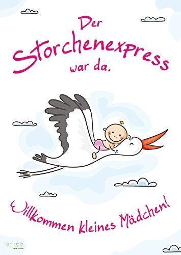 Willkommen Baby - Mädchen (Poster DIN A2). Das Begrüßungs-Plakat mit Storch nach der Geburt eines Mädchens/Tochter. Herzlich willkommen zu Hause Mama und Kind.