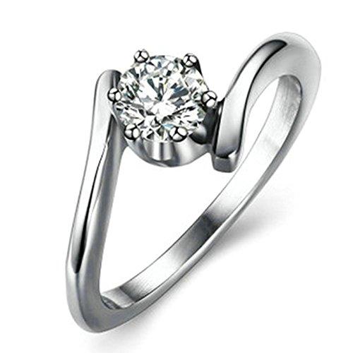 Sanjiu gioielli donne matrimonio fidanzamento anelli rotondi in acciaio INOX con zirconia cubica da donna anello promessa anniversario fascino anello di fidanzamento per le donne bianco, acciaio inossidabile, 19, colore: White, cod. SanJieyun30