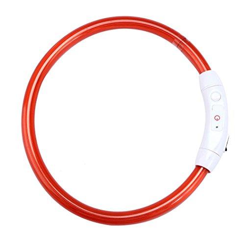 Collares para mascotas collares luminosos para perros led electrico con descarga by Sannysis (Rojo, 70cm grand)