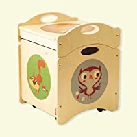 Dida - Baúl de juguetes - LOS Troncotti - pouf contenedor en madera - cúbico base con 4 ruedas + tapa, decorado con búhos, ardillas y mofetas