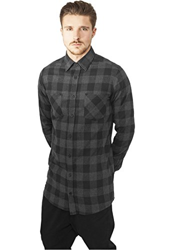 Urban Classics Long Checked Flanell Shirt, Camicia Uomo Multicolore (Blk/cha 00445)