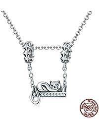 ce169f30bbda IUANUG Collar de Plata Mujer Colgante Adorable Gato Joyería de los Encantos  Ajuste Pulsera y Collares