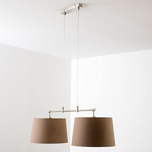 Pendelleuchte aus Stoff  – 2-flammige Zimmerlampe Höhenverstellbar, Farbe Cappuccino - 7