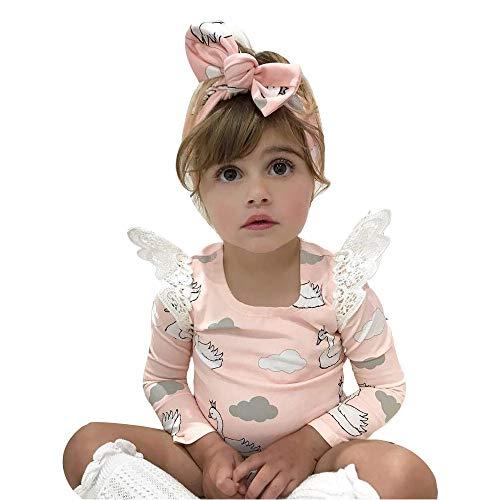Webla Baby Mädchen Langarm Strampler Cartoon Weiße Wolken Kleid Rock Body Kleidung Outfits mit Flügel (6-24 Monate) (6-12 Monate, Rosa)