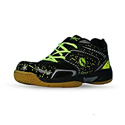 Feroc Black Marble Unisex Badminton Shoes (Free Delivery) (6, Black)