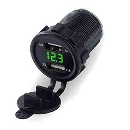 Voltímetro + USB dual empotrable para Auto caravana, Camper, Coche