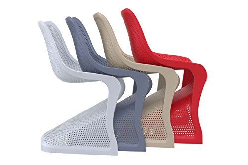 CLP Design Kunststoff-Stuhl BLOOM, XXL Gartenstuhl, Freischwinger Stuhl belastbar bis 160 kg Hellgrau - 5