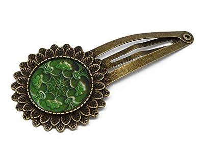 Barrette pince clip retro Lisboa Azulejos résine Portugal vert laiton bronze accessoire cheveux résine noel cadeau fete des meres grands-mères cadeau personnalisé anniversaire mariage saint valentin maîtresse felicitation