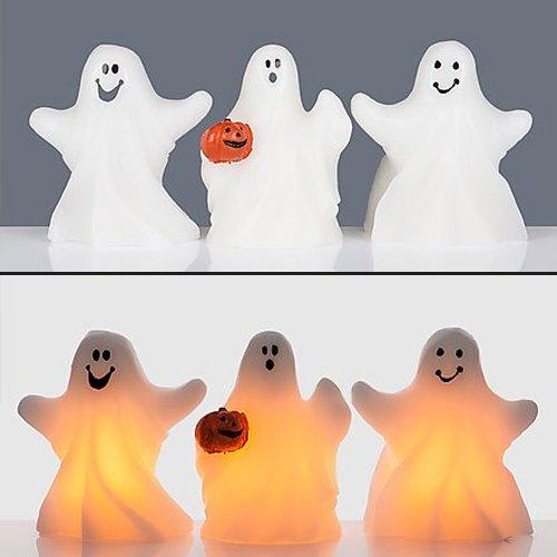 3 Geister mit Halloween Kürbis - Gespenst Kerzen mit Timer (Die Bedeutung Von Halloween Kürbisse)