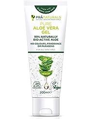 Gel à L'Aloe Vera Bioactif PraNaturals 200ml - Apaisant naturel et hydratant nourrissant - Hydrate la peau endommagée - Gel s'absorbant facilement sans sensation grasse - Riche en vitamines et minéraux, sans odeur