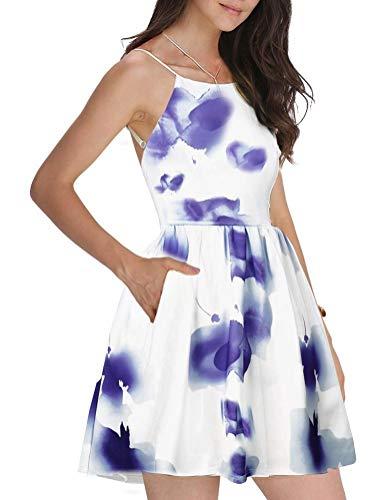 FANCYINN Damen Sommerkleid Armellos Spaghetti-Armband Kleider Elegant Rückenfreies Kurze Kleid Minikleid Multi color Blumen-S(34-36)