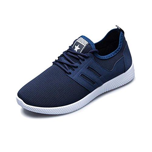 Zapatillas Deporte Hombre❤️ZARLLE Zapatos Para Hombres Casual Zapatos De Gimnasio Cruz Atado De Zapatos Para Correr Zapatos De Negocios Hechos A Mano Mocasines De ConduccióN De Zapatos (43, Azul)
