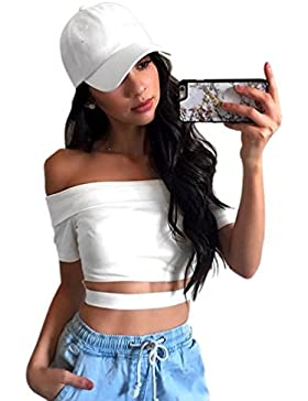 Moorui Mujeres Hombros Descubiertos Manga Corta Crop Top Slim Fit Corto Camisetas