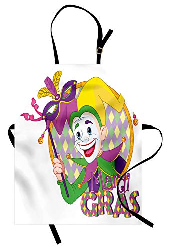 ABAKUHAUS Mardi Gras Kochschürze, Karikatur-Design des Karneval-Spaßvogels lächelnd und eine Masken-Harlekin-Zahl halten, Farbfest Höhenverstellbar Waschbar Klarer Digitaldruck, Mehrfarbig