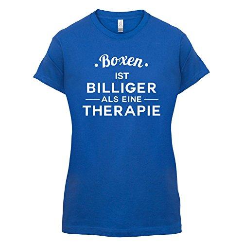 Boxen ist billiger als eine Therapie - Damen T-Shirt - 14 Farben Royalblau