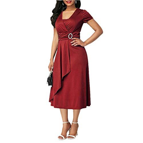 Elegante Frauen Hohe Taille Plain Asymmetrische Midi Kleid Fashion Summer Solid Casual Kurzarm V-Ausschnitt Kleid Sommerkleid Plus Größe Burgund 2XL