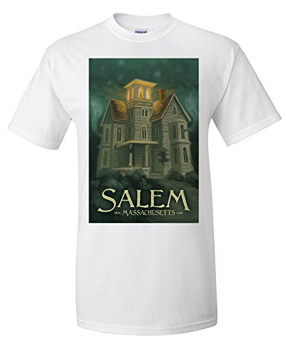 Salem, Massachusetts - Haunted House - Halloween Oil Painting (Premium T-Shirt)