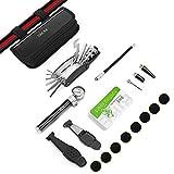 SKM Fahrrad Reparatur Set mit Tragtasche und 16 in 1 Zubehör Flickzeug, Luftpumpe, Multiwerkzeug, Schrauber, Lochfinder und Reifenheber