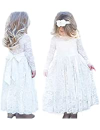 a2ad57a5e19ed CQDY Flower Girls Dresses for Weddings Girls Flower Lace Dress White Flower  Dress Pageant Bridesmaid Christening