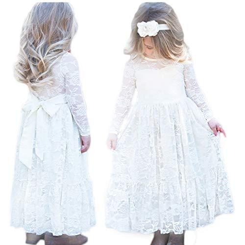 CQDY Fleur Filles Robes pour Mariages Filles Fleur Robe en Dentelle Blanc Fleur Dress Pageant Demoiselle d'honneur Baptême avec Big Bow