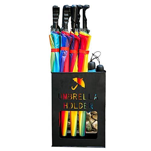Schirmständer Metall rechteckiger Tropfschale, Eingangsbereich Büro-Regenschirm-Eimer für Spazierstöcke Lange/Kurze Regenschirme (Farbe : Schwarz, größe : S(36x13x41cm))
