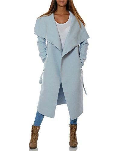 Damen Langer Mantel Cardigan mit Taillengürtel No 15705 Hellblau 44 / 2XL