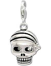 SilberDream Charms FC620–Colgante Cráneo (pirata en plata de ley 925, no se empaña–especialmente para encanto pulsera, collar y pendientes–para MUJERES–FC695