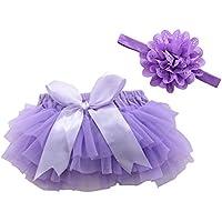 FENICAL Falda de tutú y Diadema de Flores Accesorios de fotografía de niñas bebé Vestido de cumpleaños recién Nacido Headwear Talla L (Violeta)