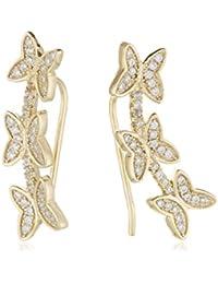 Córdoba Jewels | Pendientes en plata de Ley 925 bañado en oro. Diseño Ear Curf Mariposa Diamantada Oro