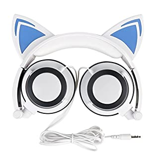 Katze Kopfhörer, AOUTOS Wiederaufladbare niedliche Katze Ohr Kopfhörer mit LED blinkt glühende Lichter faltbar über Ohr Cos-Play Fancy Headsets für PC, Laptop, iPhone, iPod, MP3, MP4 und Android Phone (Weiß)