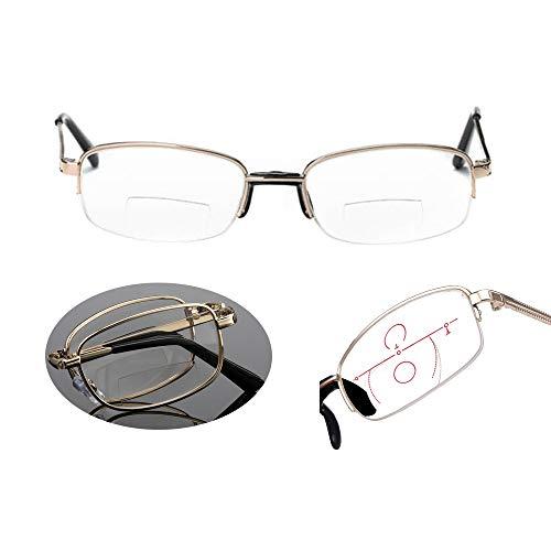 Dr.Taylor Verstellbare Leseglöser, 1.00-4.00 Blue Light Blocking Brillen, Nearsighted & Farsighted Variable Focus mit Half Rim & Clear Lens,1.00