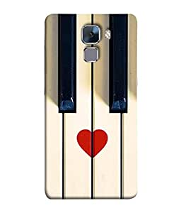PrintVisa Designer Back Case Cover for Huawei Honor 7 (piano keys close white view)