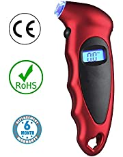 Voroly Digital Tyre Pressure Gauge 150 PSI 4 Settings for Car Truck Bicycle with Backlit LCD and Non-Slip Grip, Red