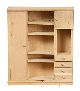 MELODY Jane Casa de muñecas dormitorio Unidad De Almacenamiento sin terminar madera en Bruto Muebles Miniatura