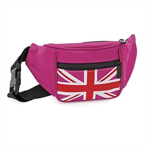 Para mujeres o niñas caliente rosa vago bolsa impresa Union Jack & compartimentos bolsillo - con correa ajustable confort