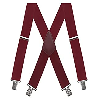 Aissy Herren Hosenträger 50mm Breite X - gestalten mit 4 Starken Clips -elastisch und längenverstellbar in verschiedenen Designs/Wein