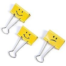 Rapesco - Caja de 20 pinzas / clips de 19mm, hasta 75 hojas en varios emojis de color amarillo
