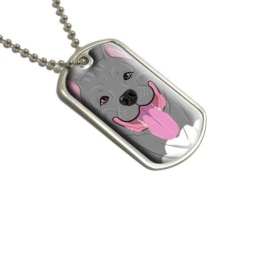 Pit Bull Full Face Blau Nase grau–Pitbull American Staffordshire Terrier Hund Pet Militärische Erkennungsmarke Gepäck Schlüsselanhänger