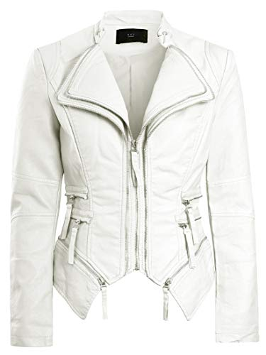 1614cc4995362 SS7 Womens Faux Leather Biker Jacket Off White for sale Delivered anywhere  in UK