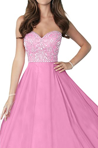 Prom Style Damen Prinzessin Chiffon Traegerlos Ruckenfrei Abendkleider  Ballkleider Cocktailkleider A-Linie Lang Partykleider Tanzenkleider