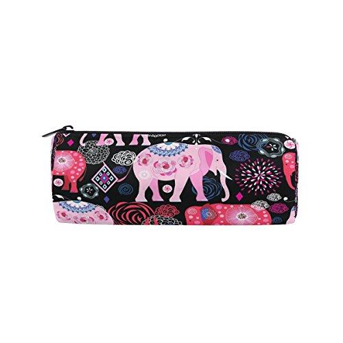 ISAOA Estuche Portátil Redondo Estuche Rosa y Rojo Elefante Bolígrafo Bolsa de Almacenamiento Bolso Monedero Adecuado para Niños Estudiantes o Oficial Bolsa de Maquillaje de Viaje