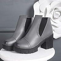 SHOESHAOGE Damenmode Stiefel Pu (Polyurethan) Herbst Minimalismus Stiefel  Chunky Heel Runde Toe Booties  ee55c0dc59