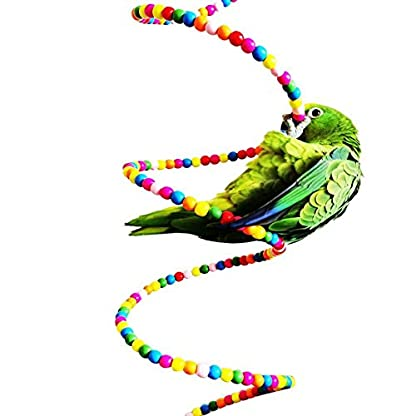 Keersi Colourful Rotate Ladder Toy for Bird Parrot Budgie Parakeet Cockatiel Conure Lovebird Finch Canary Cockatoo African Grey Amazon Cage Perch Stand 6