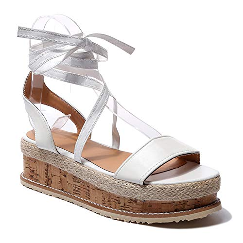 Yudesun Schuhe Damen Sandalen Platforms Keilabsatz - Damen Abendschuhe Flach Strappy Peep Toe Slingback Fesselriemen Sommer Urlaub Freizeit Schuhe Strappy Platform Sandalen