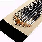 CAIM-penna Nylon Hair 9 Set Acquerello Pennello Set Pennello a Punta in Nylon per Capelli Artista Acrilico Acquerello (Color : Black)